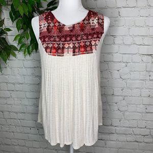 Lucky Brand Embroidered Beaded Linen Knit Tank Top